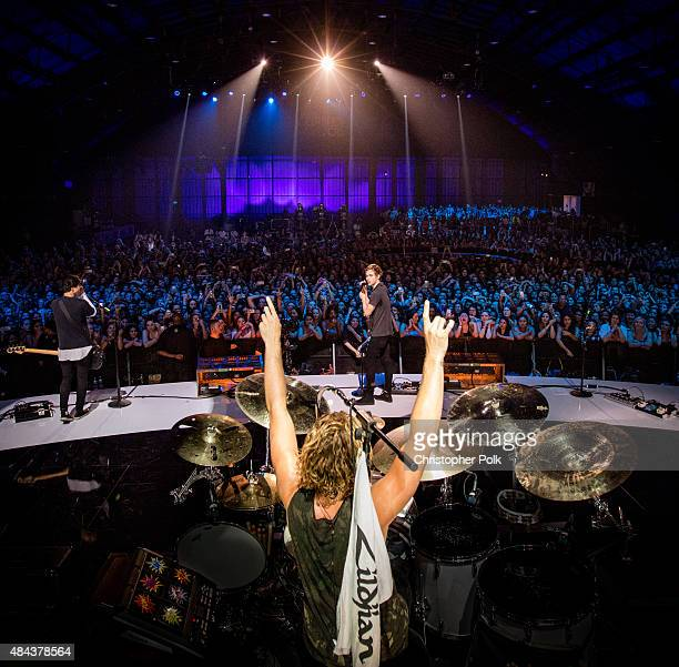 Seconds of Summer performs onstage during Vevo Certified Live at Barker Hangar on August 17 2015 in Santa Monica California