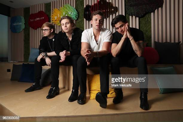 Seconds of Summer pose before performing at the Spotify Fans First Event With 5 Seconds Of Summer on May 25 2018 in Sydney Australia Spotify invited...
