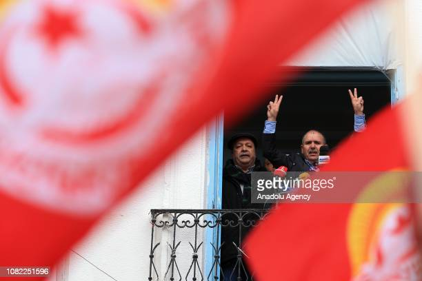 SecreatryGeneral of Tunisian General Labour Union Nureddin Tabbubi Tunisians speaks during a rally marking the eighth anniversary of Arab Spring in...