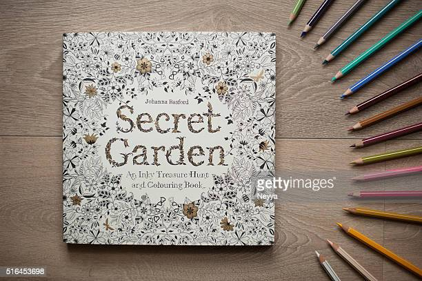 secret garden - colouring book for adults - colouring bildbanksfoton och bilder