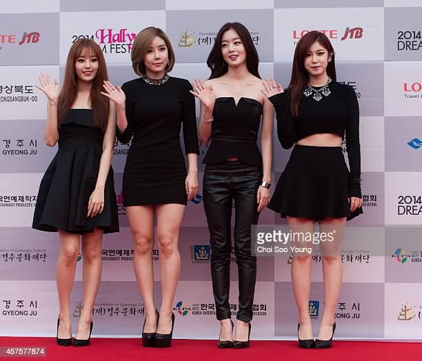 Secret pose for photographs during the 2014 Hallyu Dream Concert at Gyeongju Citizen Stadium on September 28 2014 in Seoul South Korea