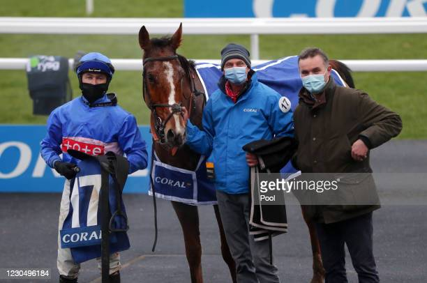 Secret Reprieve and jockey Adam Wedge celebrate winning the Coral Welsh Grand National Handicap Chase at Chepstow Racecourse on January 9, 2021 in...