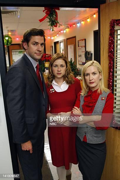 THE OFFICE 'Secret Santa' Episode 610 Pictured John Krasinski as Jim Halpert Jenna Fischer as Pam Beesly Angela Kinsey as Angela Martin Photo by...
