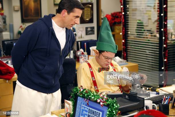 THE OFFICE Secret Santa Episode 610 Pictured Steve Carell as Michael Scott Rainn Wilson as Dwight Schrute Photo by Chris Haston/NBC/NBCU Photo Bank