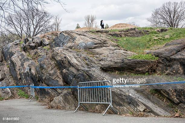 A secret service agent keeps watch prior to a rally for Democratic Presidential Candidate Senator Bernie Sanders at St Mary's Park on March 31 2016...