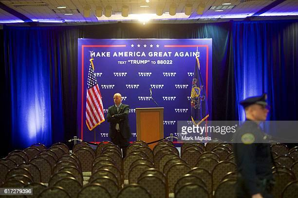 A secret service agent monitors activity after Republican Presidential nominee Donald J Trump held an event at the Eisenhower Hotel and Conference...