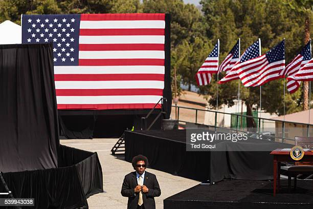 A secret service agent protects the stage where the President will speak President Obama signed a declaration marking the mountains of San Gabriel in...