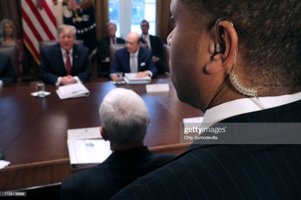 President Trump Holds A Cabinet Meeting At The White House : News Photo