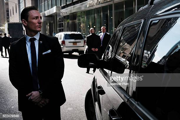 A secret Service agent stands guard outside of Trump Tower as Republican Presidential candidate Donald Trump leaves to vote on primary day in New...