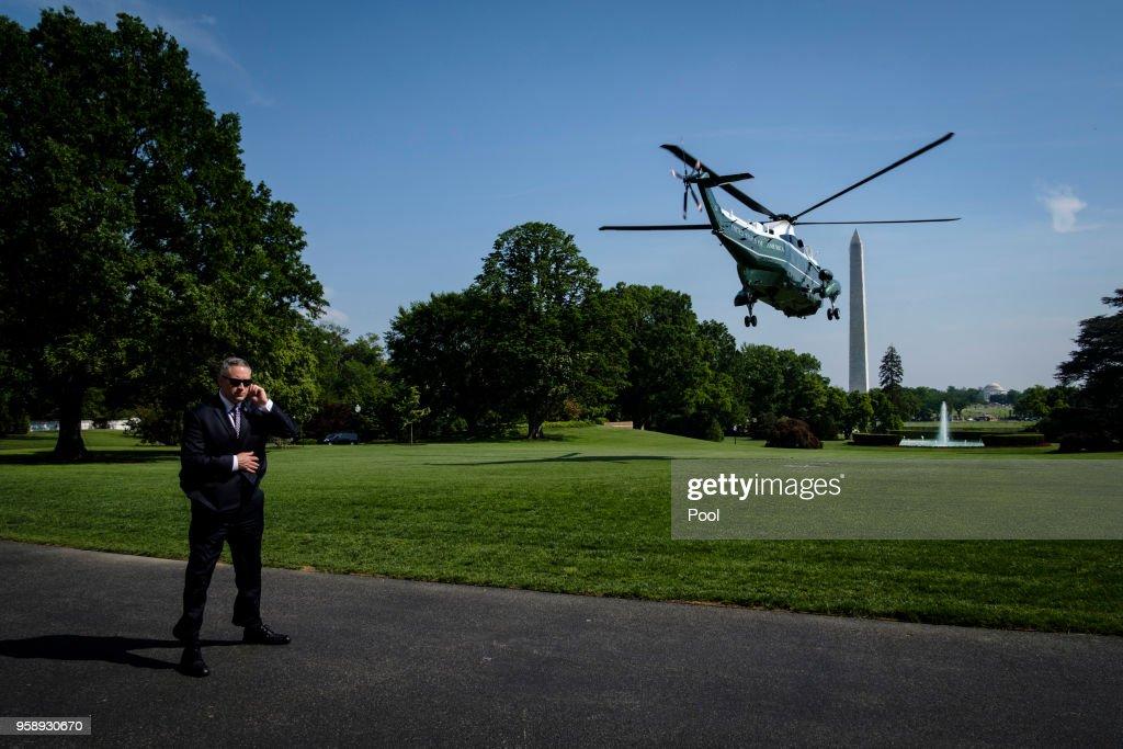President Trump Visits First Lady Melania Trump At Walter Reed Medical Center : News Photo