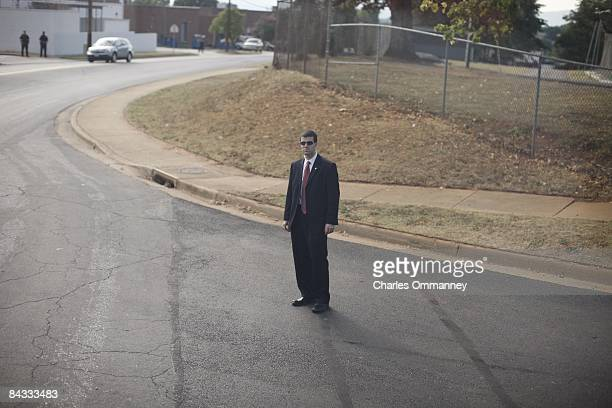 A secret service agent waits at an event where presumptive Democratic Presidential candidate US Senator Barack Obama was scheduled to attend for a...