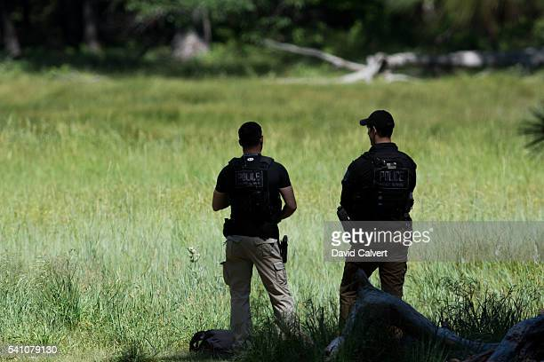 Secret Service Agents patrol Cook's Meadow before President Barack Obama's speech on June 18 2016 in Yosemite National Park California Obama is...