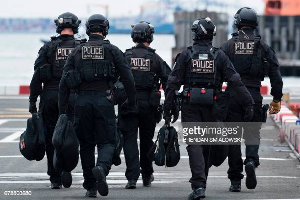 Secret Service counter assault team is seen at the Wall Street heliport May 4 2017 in New York during the arrival of US President Donald Trump Trump...