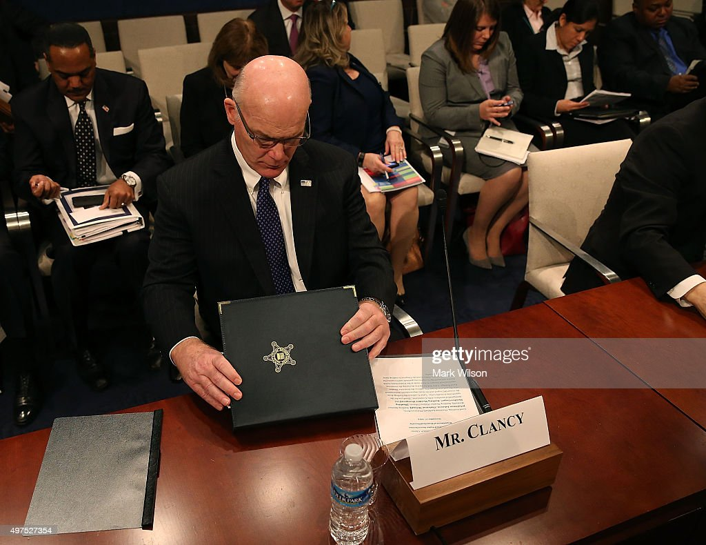 US Secret Service Director, Joseph Clancy, looks at his papers during House Homeland Security Committee and Senate Homeland Security and Governmental Affairs Committee hearing on Capitol Hill, November 17, 2015 in Washington, DC. The committees were hearing testimony on 'Examining Ongoing Challenges at the U.S. Secret Service and their Government-wide Implications'.