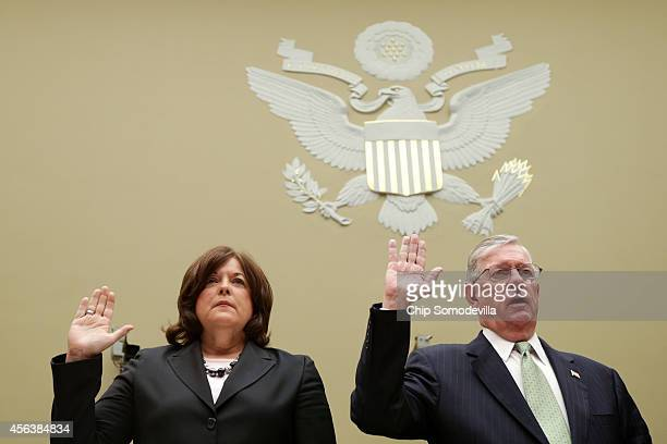 Secret Service Director Julia Pierson and Commissioner for US Customs and Border Protection W Ralph Basham are sworn in before testifying to the...