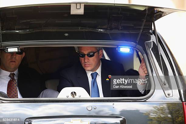 Secret Service personel ride in the the convoy as The President of The United States Barack Obama arrives in his motorcade ahead of a 'Town Hall'...