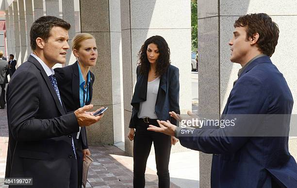 WAREHOUSE 13 Secret Services Episode 502 Pictured Mark Deklin as Ted Janet Varney as Elise Joanne Kelly as Myka Bering Eddie McClintock as Pete...