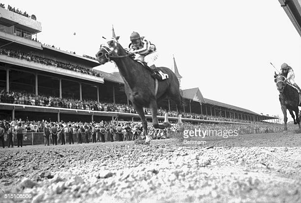 Secretariat with Ron Turcotte in the saddle wins the 99th running of the Kentucky Derby.