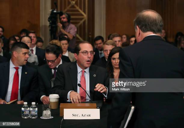 Secretary Alex Azar appears to testify before the Senate Health Education Labor and Pensions Committee on Capitol Hill June 12 2018 in Washington DC...