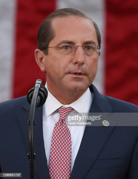 Secretary Alex Azar, speaks about Operation Warp Speed with U.S. President Donald Trump in the Rose Garden at the White House on November 13, 2020 in...
