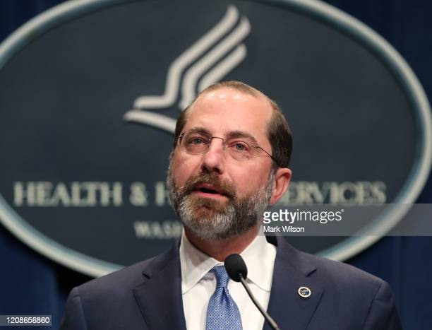 Secretary Alex Azar speaks about the coronavirus during a press briefing on the administration's response to COVID-19 at the Department of Health and...