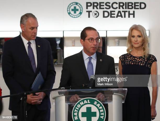 Secretary Alex M Azar speaks during the unveiling of 'Prescribed to Death' a Memorial to the victims of the opioid crisis temporally located on the...