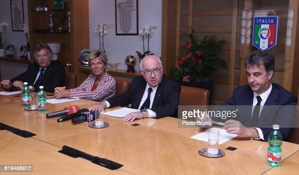 FIGC Secretary Antonio Di Sebastiano Evelina Christillin of FIFA Carlo Tavecchio FIGC President and Michele Uva FIGC General Director attend the...