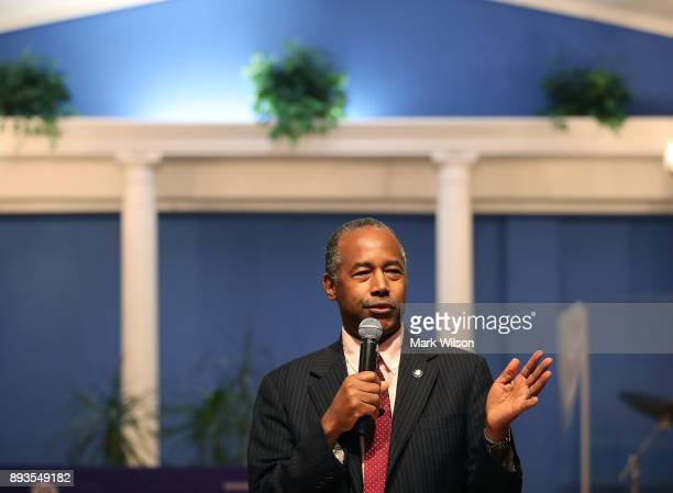 Secretary Ben Carson speaks during a news conference where he talked about the Family SelfSufficiency program commemorating the 25th anniversary FSS...