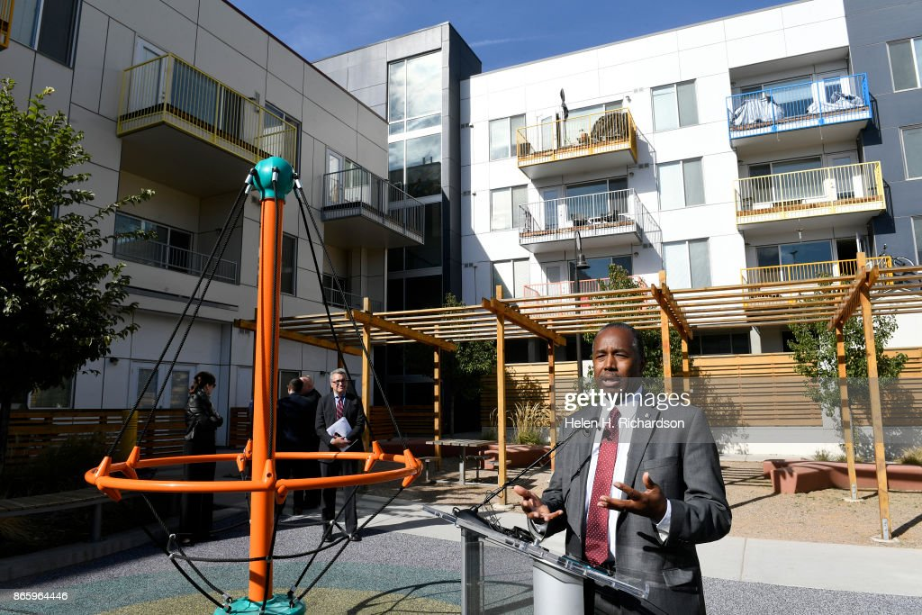 Secretary Ben Carson Speaks To Members Of The Press After A Tour Of The  Mariposa Development