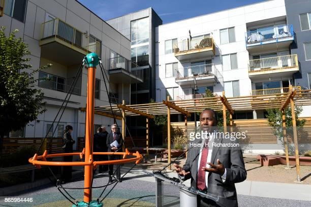 Secretary Ben Carson speaks to members of the press after a tour of the Mariposa development the Denver Housing Authority's crown jewel for...