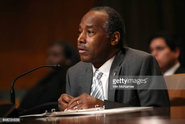 Secretary Ben Carson testifies before the Transportation Housing and Urban Development and Related Agencies Subcommittee on Capitol Hill April 18...