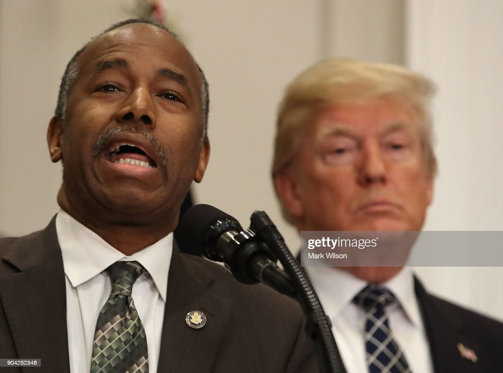 HUD Secretary Dr. Ben Carson speaks before U.S. President Donald Trump signed a proclamation to honor Martin Luther King, Jr. day, in the Roosevelt Room at the White House, on January 12, 2018 in Washington, DC. Monday January 16 is a federal holiday to honor Dr. King and his legacy.