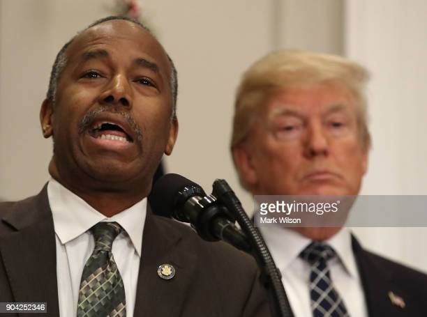 Secretary Dr Ben Carson speaks before US President Donald Trump signed a proclamation to honor Martin Luther King Jr day in the Roosevelt Room at the...