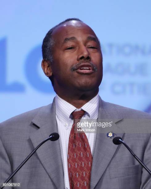 Secretary Dr Ben Carson speaks during the annual National League of Cities conference on March 12 2018 in Washington DC