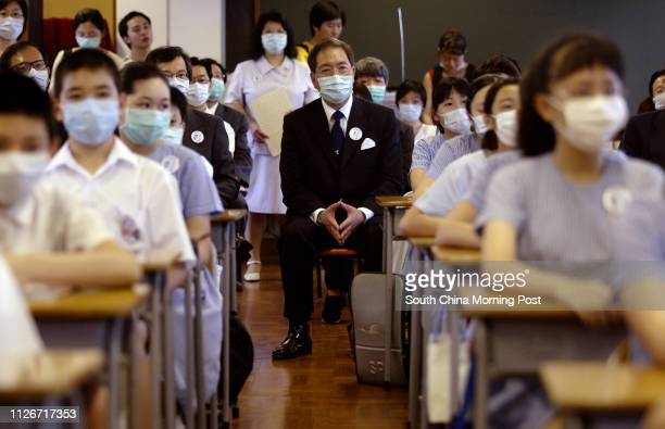 Secretary for Education and Manpower Arthur Li Kwokcheung attends a lesson in a class in Baptist Lui Ming Choi Primary School in Shatin on the first...
