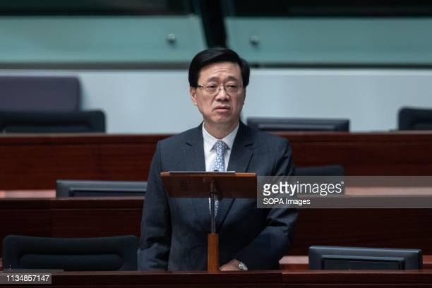 Secretary for Security John Lee Ka-chiu seen at the LegCo for the first reading of the bill about the proposal. Extradition laws were proposed by the...