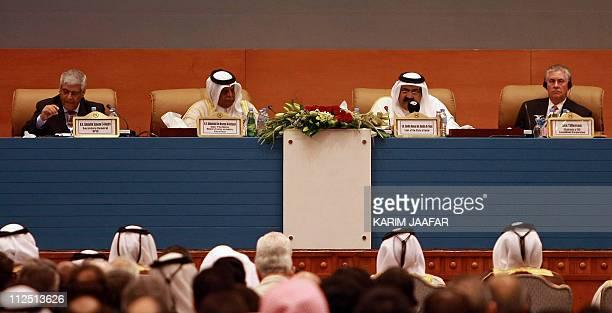 OPEC Secretary General Abdullah Salem ElBadri Qatari Energy Minister Abdullah bin Hamad alAttiyah Qatari Emir Sheikh Hamad bin Khalifa alThani and...