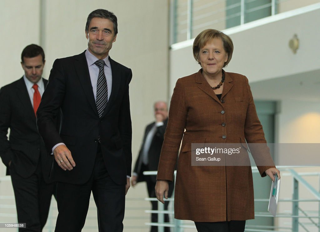 Merkel Meets With NATO Secretary General Rasmussen