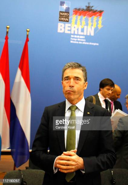Secretary General Anders Fogh Rasmussen arrives for an informal meeting of NATO member foreign ministers on April 14 2011 in Berlin Germany The...