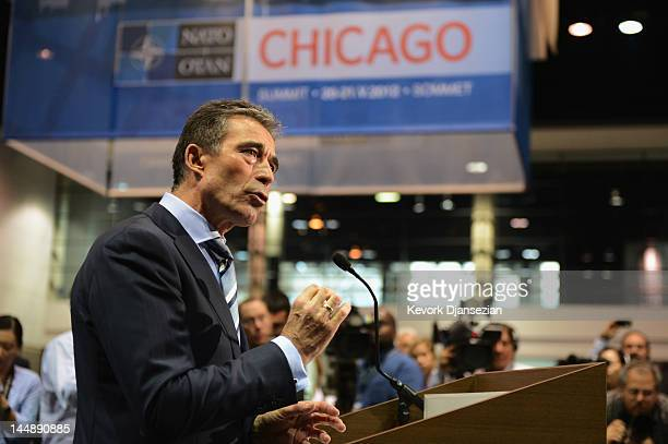 Secretary General Anders Fogh Rasmussen gives a news conference to address the pull out in Afghanistan during the NATO Summit at McCormick Place on...