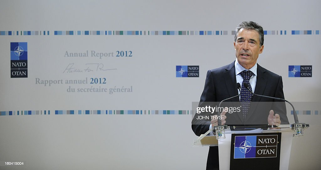 Secretary General Anders Fogh Rasmussen launches his annual report 2012 at the NATO Headquarters in Brussels on January 31, 2013.