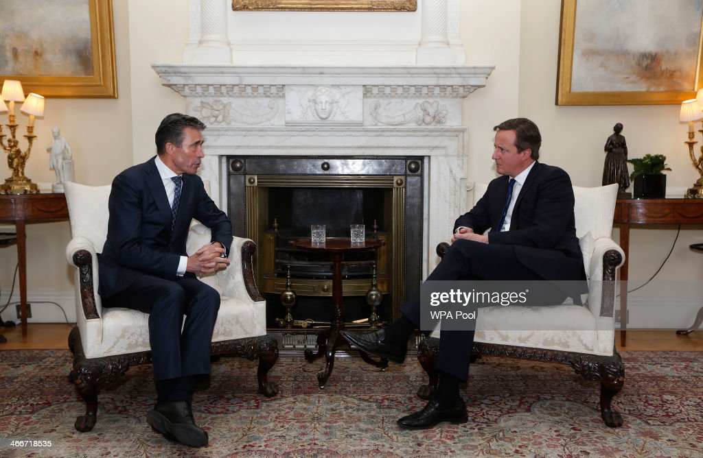 Prime Minster David Cameron Meets With NATO Secretary General Anders Fogh Rasmussen