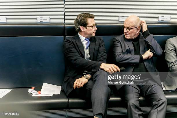 CSU secretary general Andreas Scheuer and CDU/CSU faction leader Volker Kauder attend the meeting of CDU/CSU party faction on January 30 2018 in...
