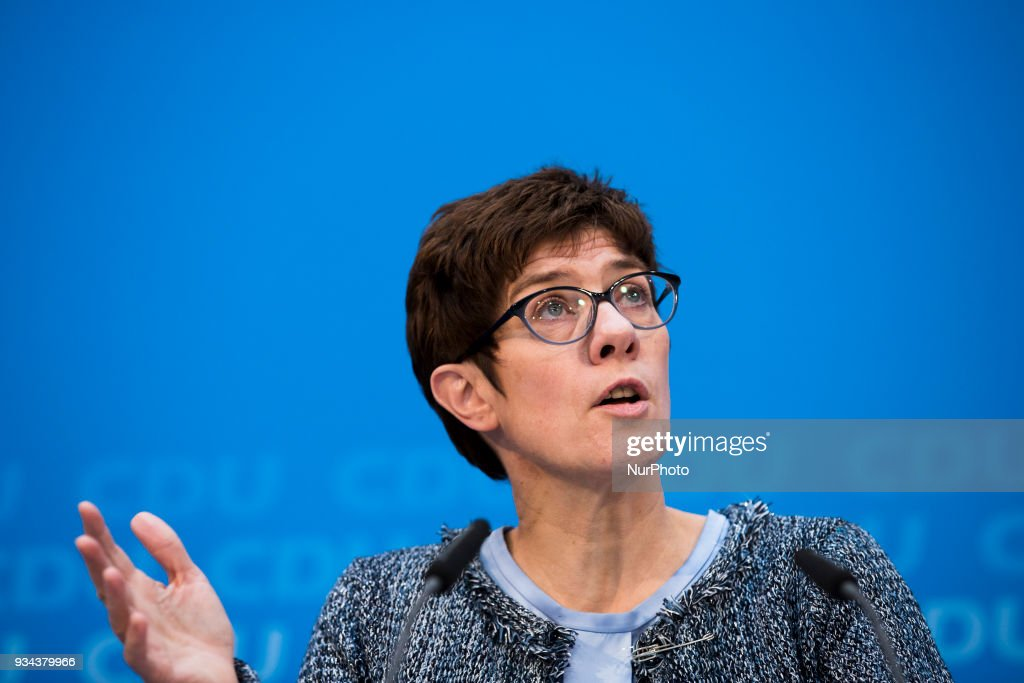 Annegret Kramp-Karrenbauer holds news conference in Berlin