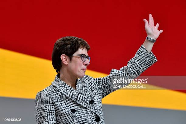 CDU Secretary General Annegret KrampKarrenbauer waves after she was elected as leader of the CDU during the party congress of Germany's conservative...