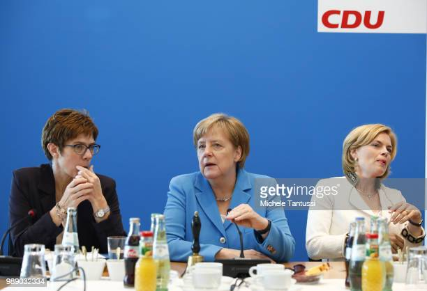 Secretary General Annegrete Annegret KrampKarrenbauer German Chancellor and leader of the German Christian Democrats Angela Merkel and minister Julia...