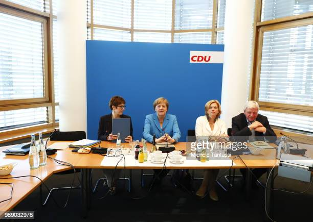 Secretary General Annegrete Annegret KrampKarrenbauer German Chancellor and leader of the German Christian Democrats Angela Merkel minister Julia...