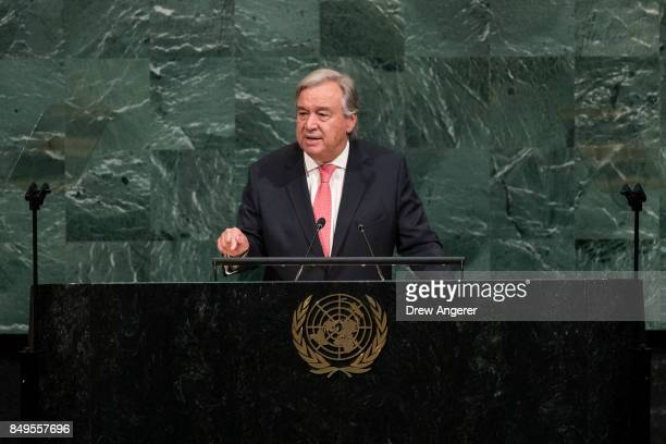 Secretary General Antonio Guterres addresses the United Nations General Assembly at UN headquarters, September 19, 2017 in New York City. Among the...