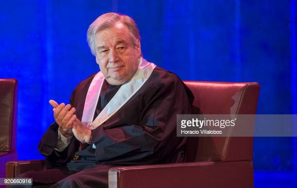 Secretary General Antonio Guterres applauds during the ceremony in which he received an honorary doctorate degree at Universidade de Lisboa on...