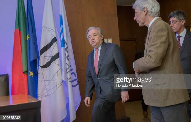 Secretary General Antonio Guterres arrives to meet with journalists at a press conference after having received the honorary doctorate degree at...